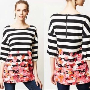 Anthropologie Postmark Striped Floral Linnea Top